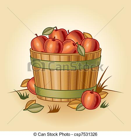 Vector   Retro Bushel Of Apples   Stock Illustration Royalty Free