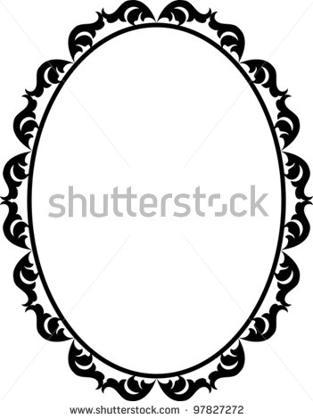 Antique Oval Frame Silhouette Stock Vector Silhouette Ornamental Frame
