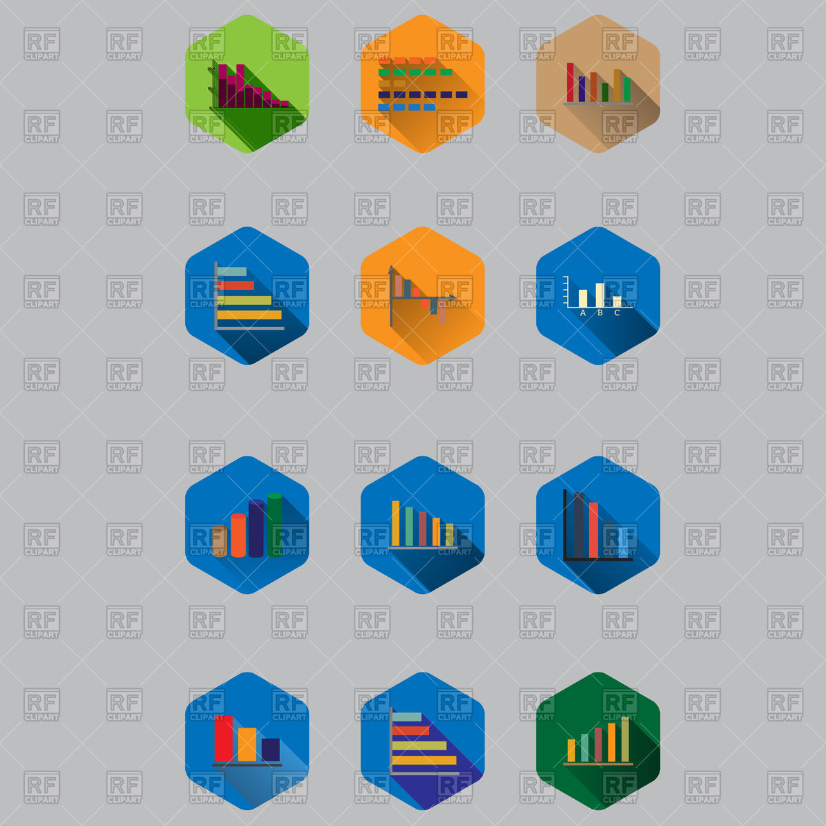 Business Diagrams And Graphics Flat Icons 96392 Icons And Emblems