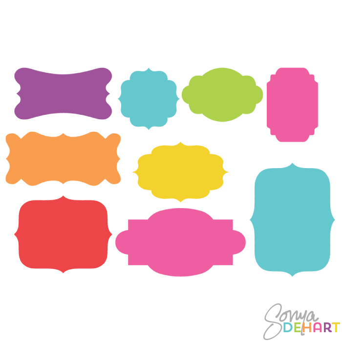 Clip Art Bright Silhouette Frame Labels