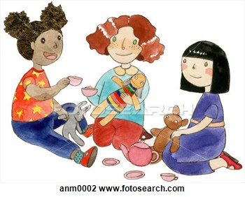 Clip Art   Three Girls Playing With Toys  Fotosearch   Search Clipart