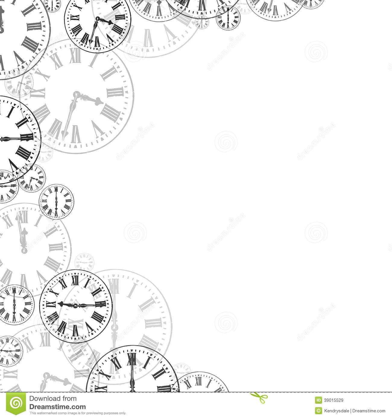 Clocks Black   White Background Border Stock Photo   Image  39015529