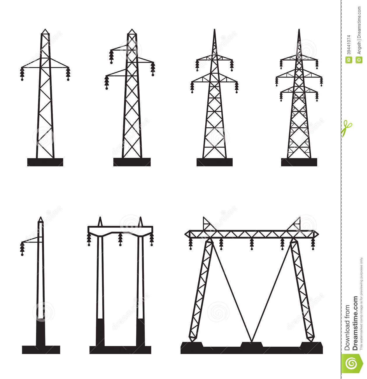 Electrical Transmission Tower Types Stock Vector   Image  39441074