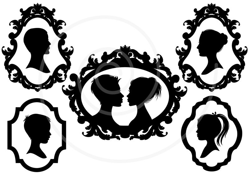 Family Faces Portrait Silhouettes In Vintage Picture By Illustree