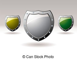 Metal Shield Icon Collection   Brightly Coloured Silver