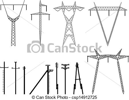 Of Pylons Transmission   Set Of Vector    Csp14912725   Search Clipart