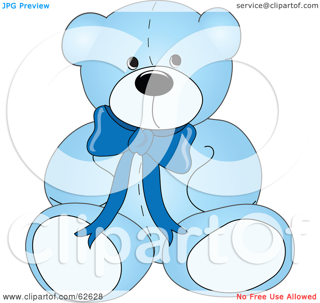 Royalty Free  Rf  Clipart Illustration Of A Cute Blue Teddy Bear With