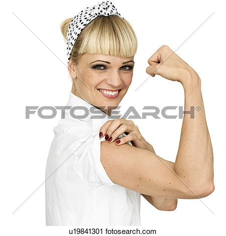 Stock Photography   Smiling Woman Flexing Arm Muscle  Fotosearch