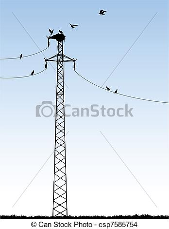 Vector Of Transmission Tower   Vector Illustration Of A Transmission