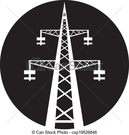 Vector   Power Transmission Tower   Stock Illustration Royalty Free