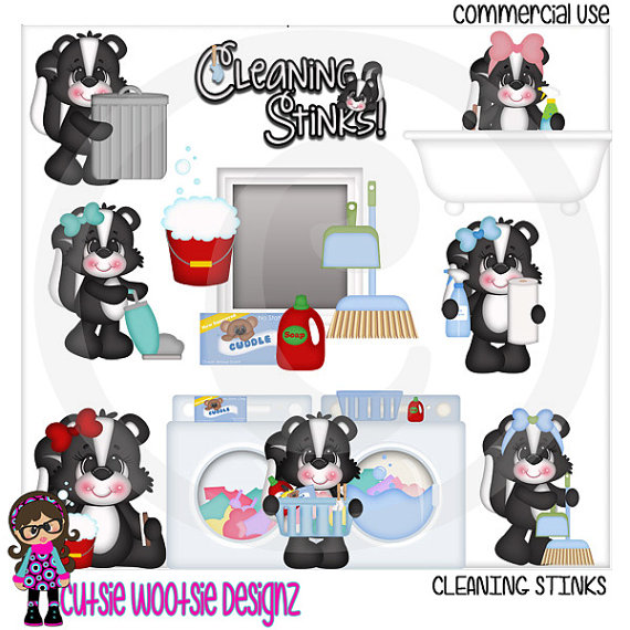 Cleaning Stinks Skunks Clip Art Clipart Graphics Commercial Use