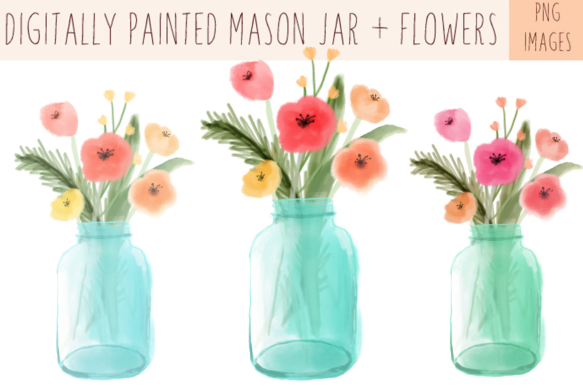 Masonjar with flowers