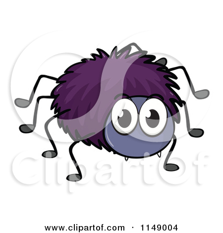 Cute Clipart Spider Cartoon Of A Purple Spider