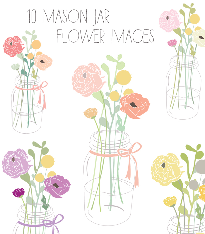 Cute Mason Jar Clip Art With Flowers   Angiemakes Com