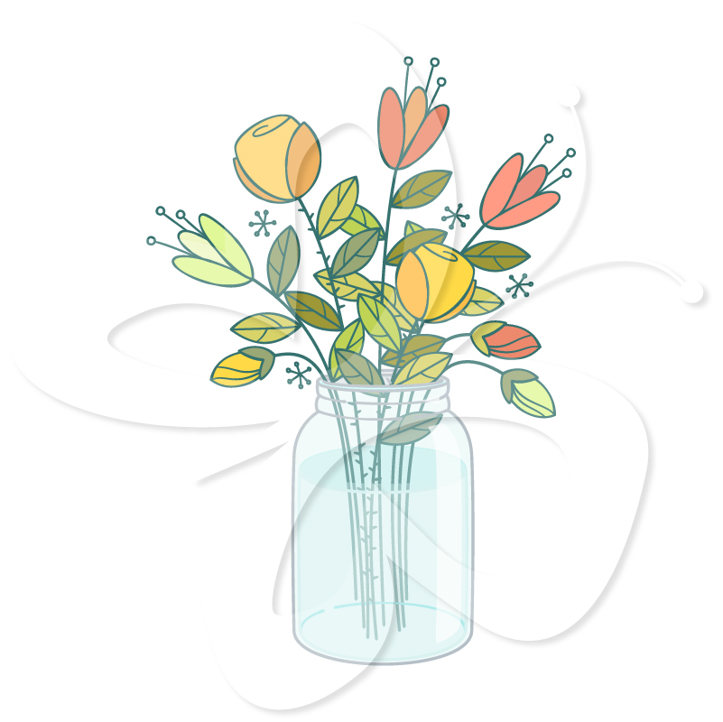 Flowers In Mason Jar Clip Art Set   Creative Clipart Collection