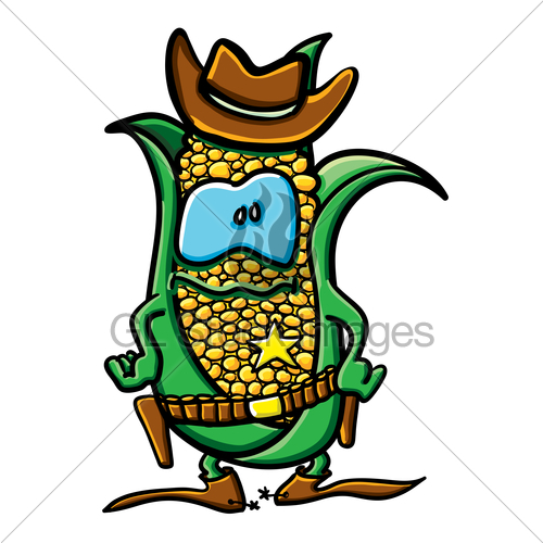 Funny Cartoon Corn Is The Cowboy   Gl Stock Images