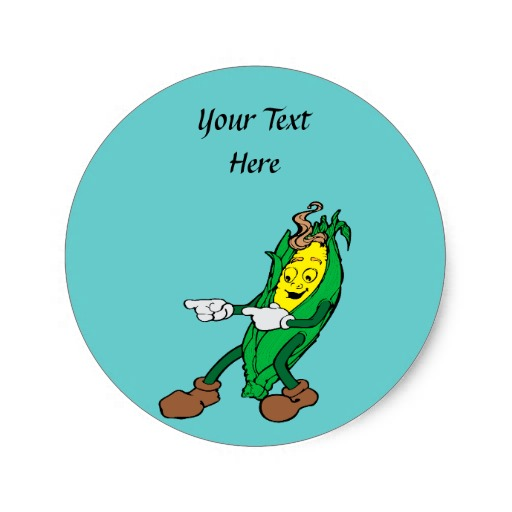 Funny Corn Cartoon Design Round Stickers