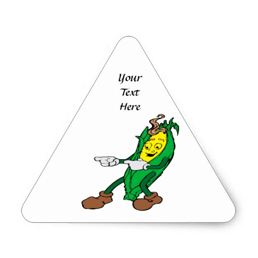 Funny Corn Cartoon Design Triangle Sticker
