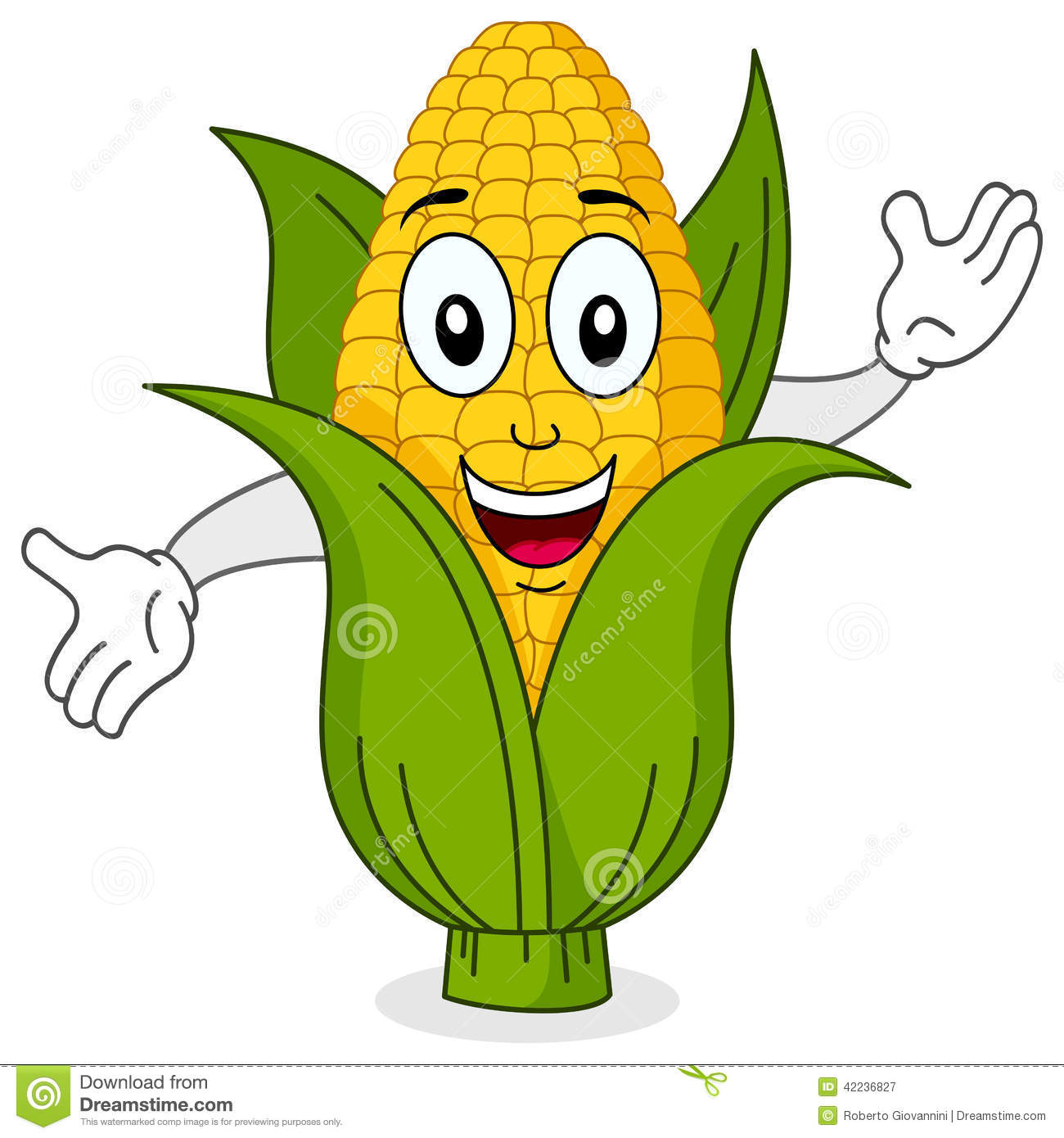 Funny Corn Cob Smiling Character Stock Vector   Image  42236827