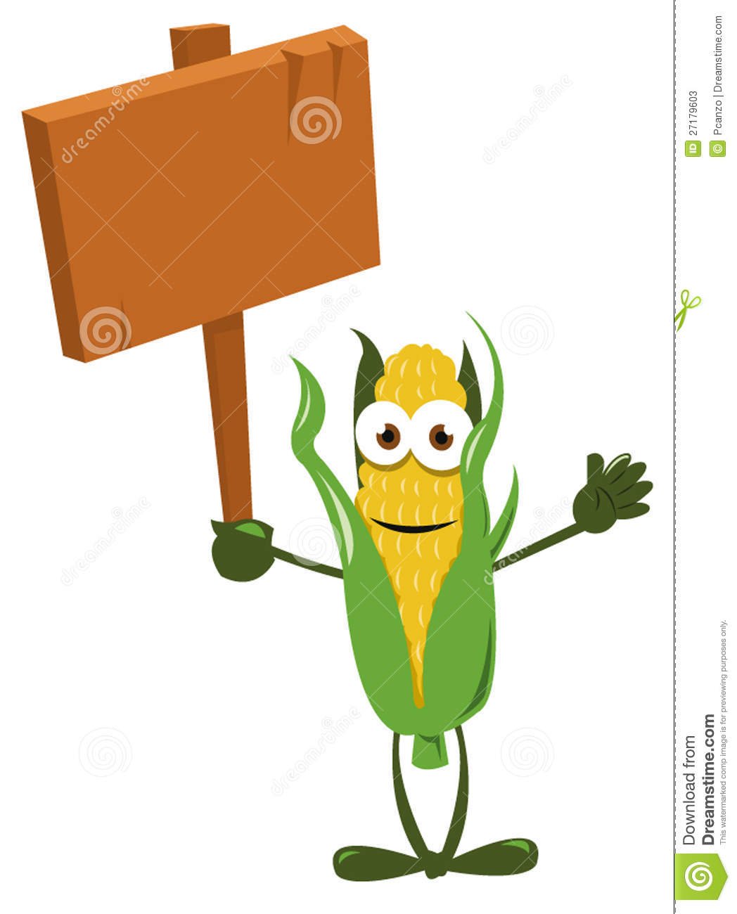 Funny Corn With Wooden Sign Stock Photos   Image  27179603