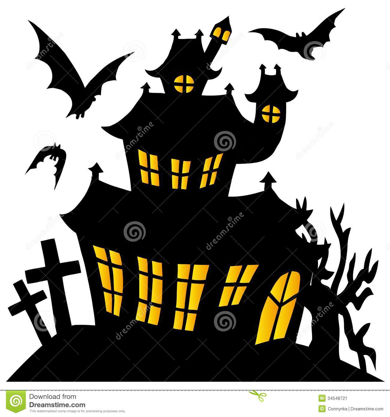 Haunted House Silhouette Silhouette Spooky House Vector Illustration