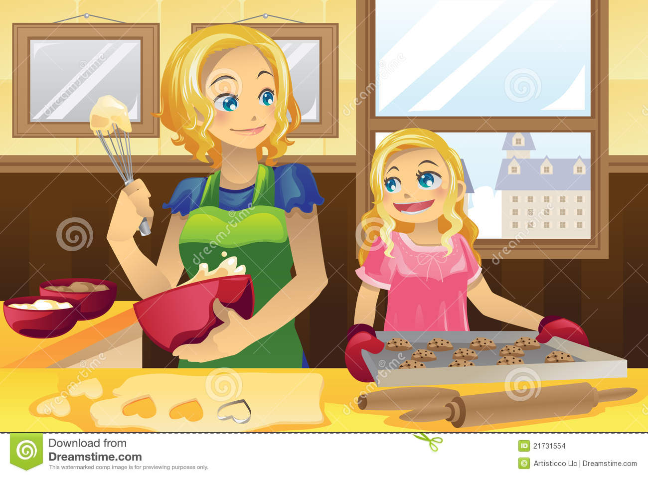 Of A Mother And Her Daughter Baking Cookies In The Kitchen