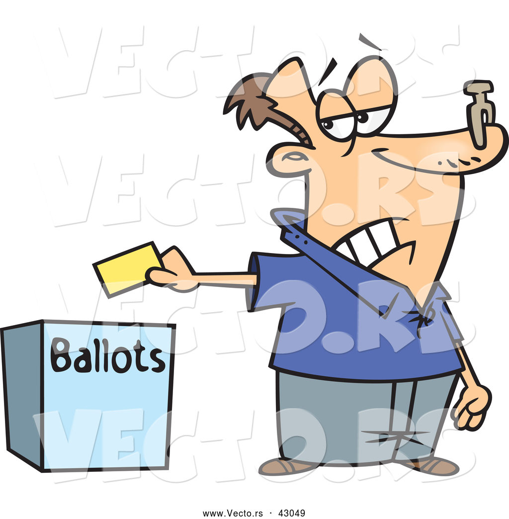 Putting His Ballot In A Box   Voting Stinks Concept By Ron Leishman