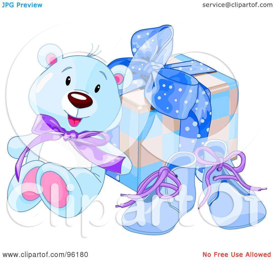 Royalty Free  Rf  Clipart Illustration Of A Blue Teddy Bear Against A