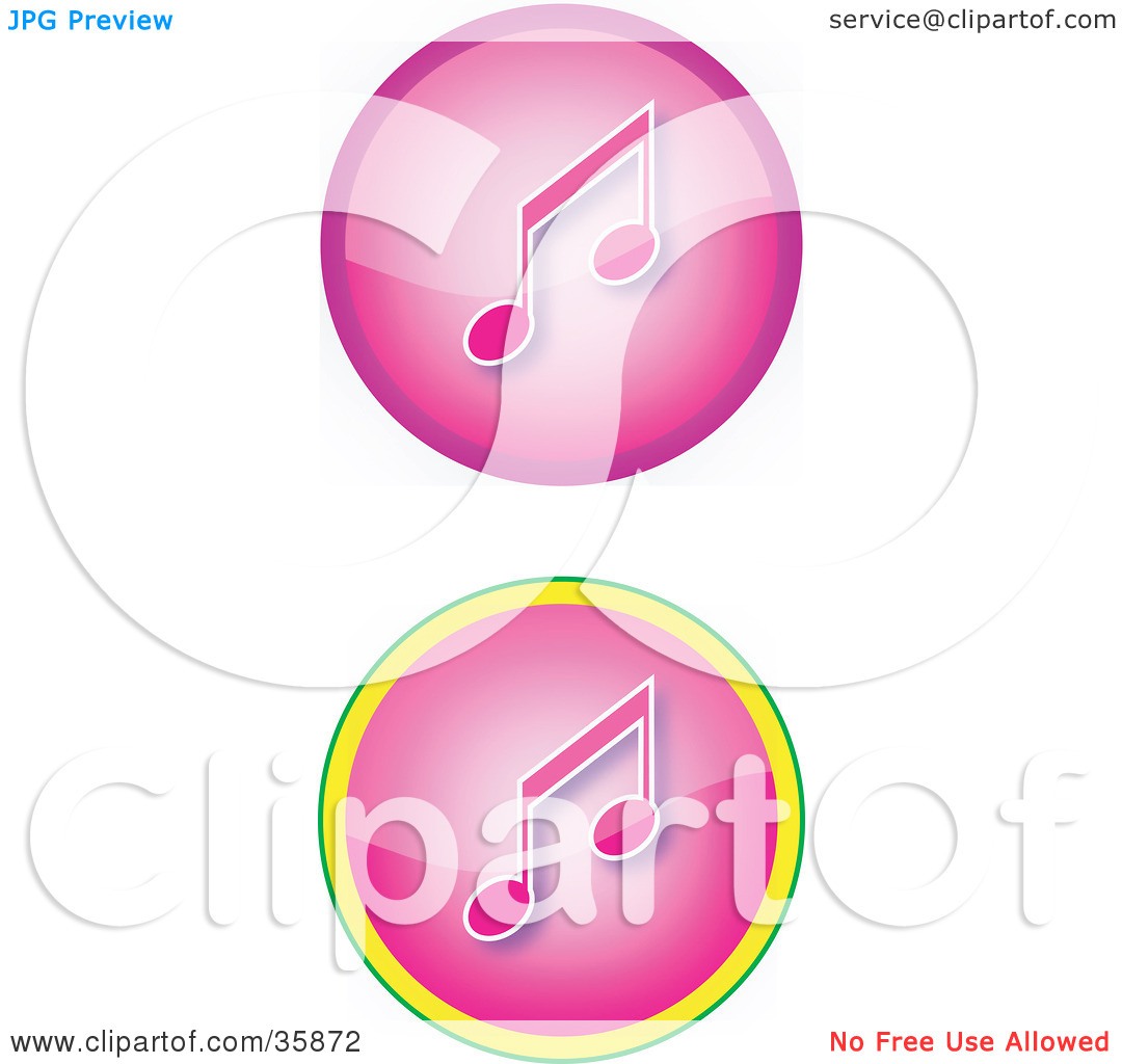 Set Of Two Pink Music Icon Buttons With Music Notes By Yuhaizan Yunus