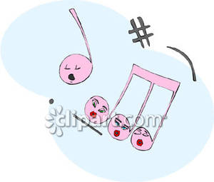 Singing Pink Music Notes   Royalty Free Clipart Picture