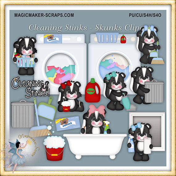 Skunk Clipart Cleaning Stinks By Magicmakerscraps On Etsy