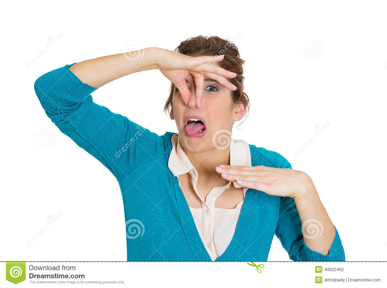 Stinks Bad Smell Situation Isolated White Background  Human Facial