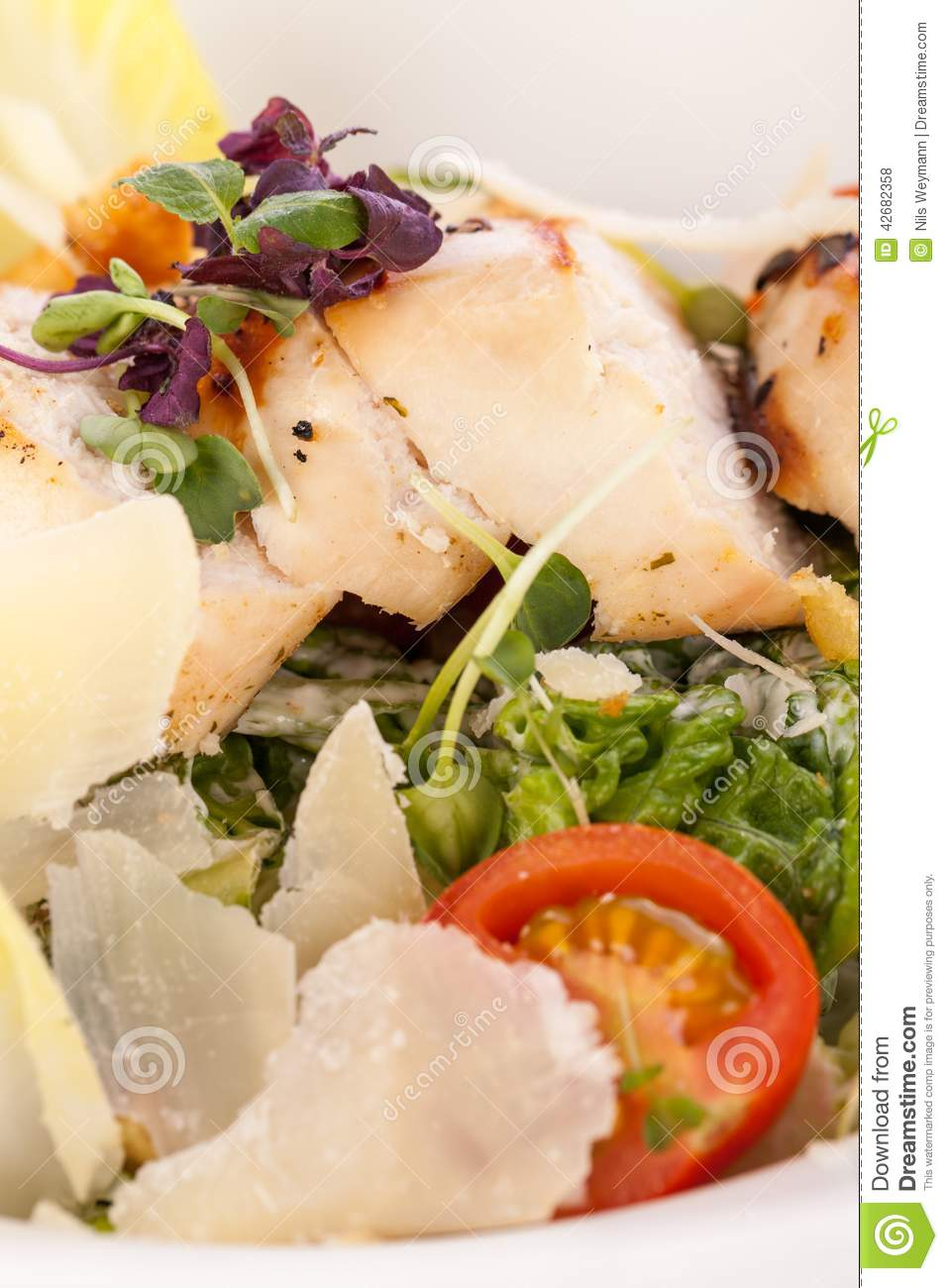 Tasty Fresh Caesar Salad With Grilled Chicken Parmesan And Croutons