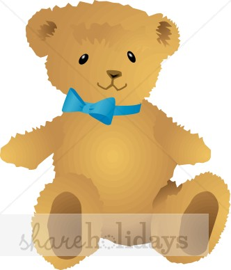 Teddy Bear With Blue Bow Tie   Christmas Teddy Bear Clipart