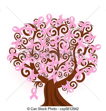 Vector   Vector Illustration Of A Breast Cancer Pink Ribbon Tree
