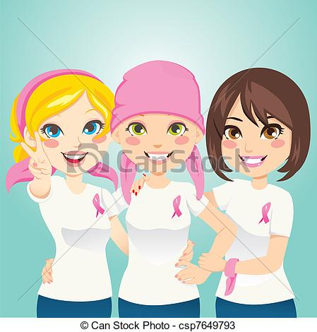 Vectors Of Fight Breast Cancer   Women Supporting And Helping A Friend