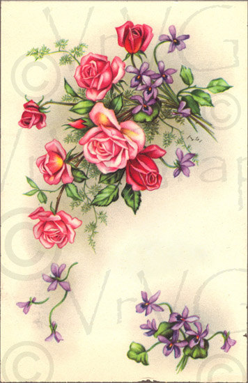Victorian Pink Roses Purple Flowers Shabby Vintage French Postcard