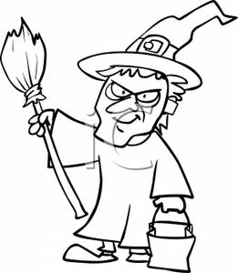 Witch Clipart Black And White A Black And White Cartoon Child Dressed