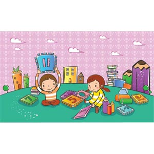 Children Playing With Play Cards In Park Vector Kids Illustration