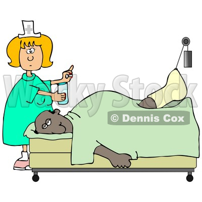 Clipart Illustration Of A Female Caucasian Nurse In A Green Dress