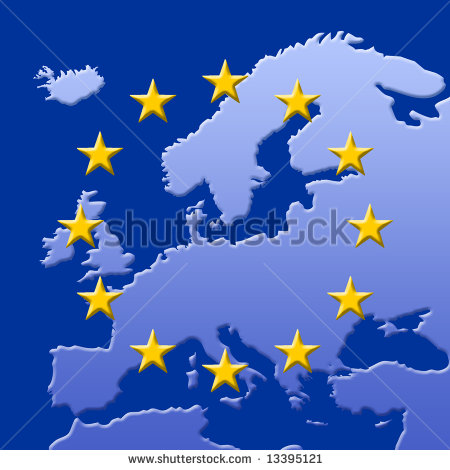 Continent Of Europe Map With Eu Stars  3d Edges  Symbolic