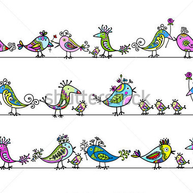 Funny Birds Seamless Pattern For Your Design Stock Vector Clipart