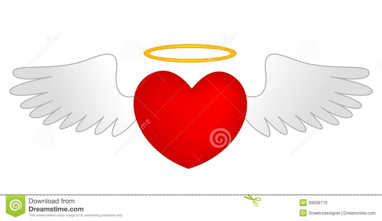 Heart With Wings And Halo Clipart Heart With Angle Wings And