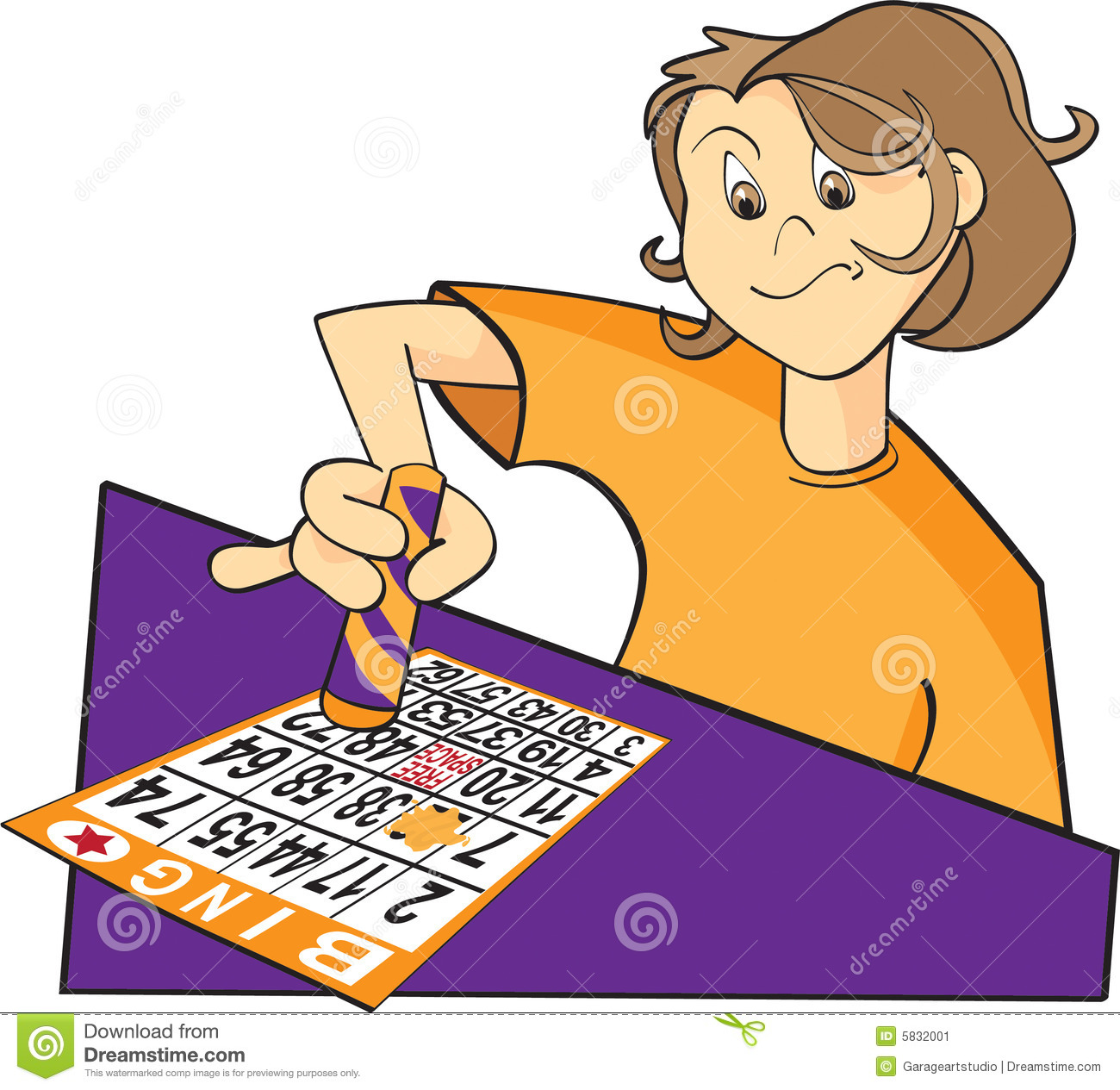 Illustration Of A Person Playing Bingo Dabbing The Bingo Card