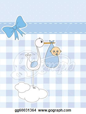 Illustrations   Stork With Newborn Baby Boy  Stock Clipart Gg60031364