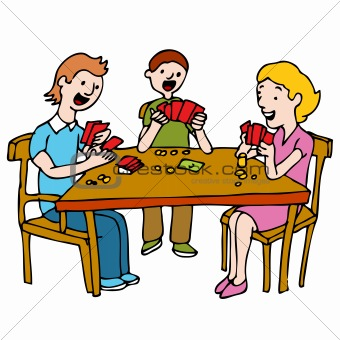 Image Description  An Image Of A People Playing A Poker Card Game At A