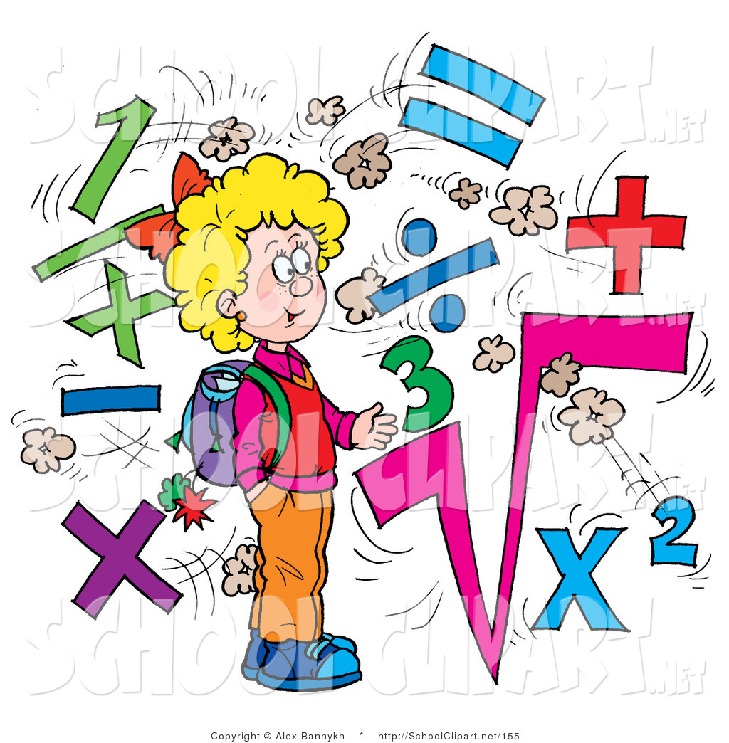Larger Preview  Clip Art Of A Smart School Girl Surrounded By Math