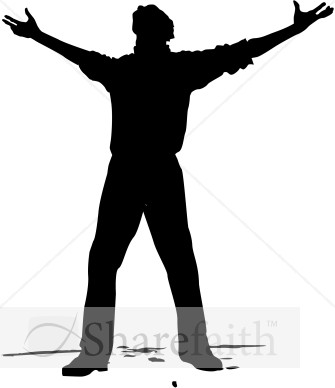 Man With Arms Open To Heaven   Praise Clipart