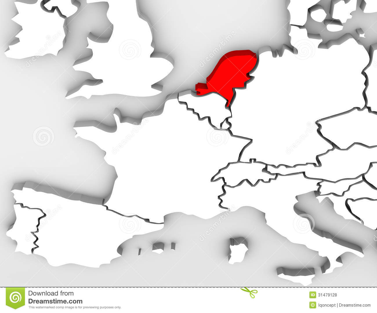 Netherland Country Abstract 3d Map Europe Continent Royalty Free Stock
