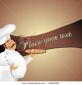 Royalty Free Clipart Image  Chef With Pizza Background